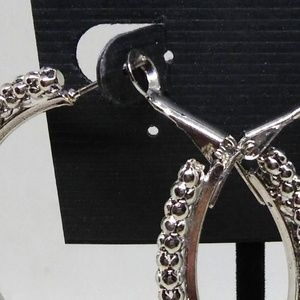 Body Central Jewelry - Hoop Earrings Silver Beaded 2 inches Sparkle 1290